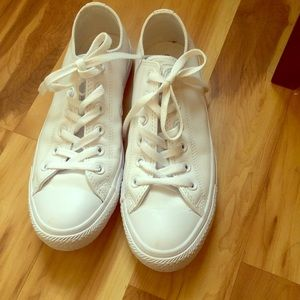 White Leather Converse - Worn Once!